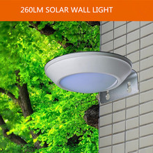 2.1W 260LM Solar powered Microwave motion sensor led wall light IP65 waterproof outdoor lighting garden cottage path road lamp