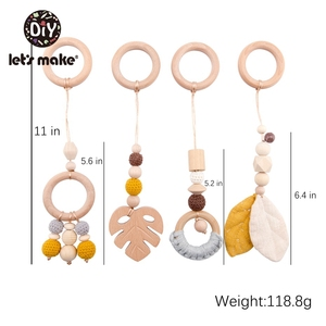 Image 5 - LetS Make 4Pc/Set Baby Teething Pacifier Necklace Hanging Toy Wooden Rattles Toys For Children From 0 12 Months  Teether