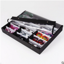 Sunglasses Display Tray, Eyewear Eye wear Display up to 18 glasses, w/Full Flip Top Cover, Tray Case Stand