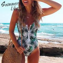 Favor Tropical print bodysuits one-piece swimsuit female Zipper bikinis 2019 Mujer High cut swimwear women Sexy monokini New bathers opportunity