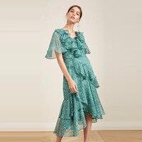 Зеленый рюшами платье миди Цветочный принт короткий рукав глубоким v образным вырезом летние Для женщин Ретро Нерегулярные Дизайнерские пр