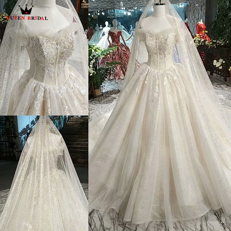 100% Real Photos Elegant Wedding Dresses Ball Gown Sequins Tulle Lace Beading 2020 New Design Bridal Gowns Custom Made SK03