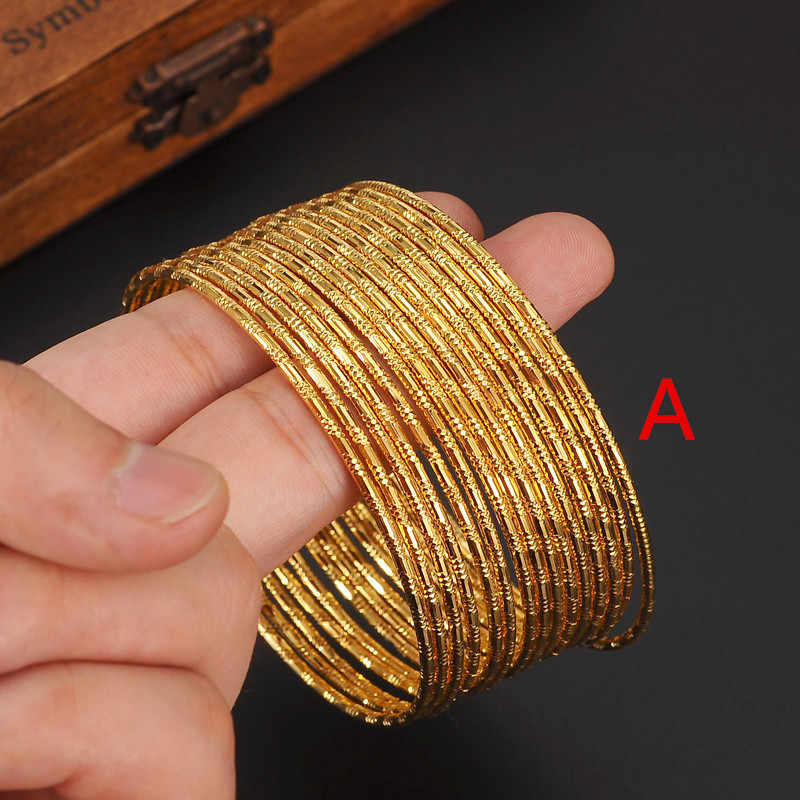 Bangrui 100 PCS dubai gold bangle 2.6 inchesEthiopian bangle African Women jewelry Gold Dubai big circle bangles