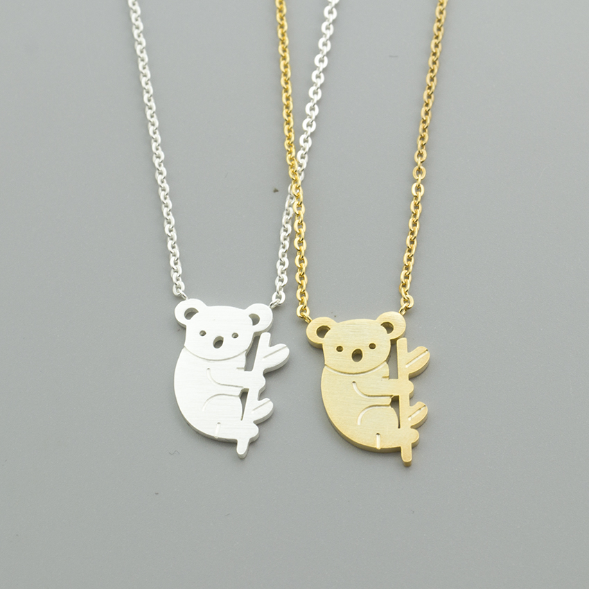 Lovely <font><b>Koala</b></font> <font><b>Bear</b></font> Necklaces Pendants For Women Men Rose Gold Silver Stainless Steel Long Chain Pendant Necklace Fashion <font><b>Jewelry</b></font> image