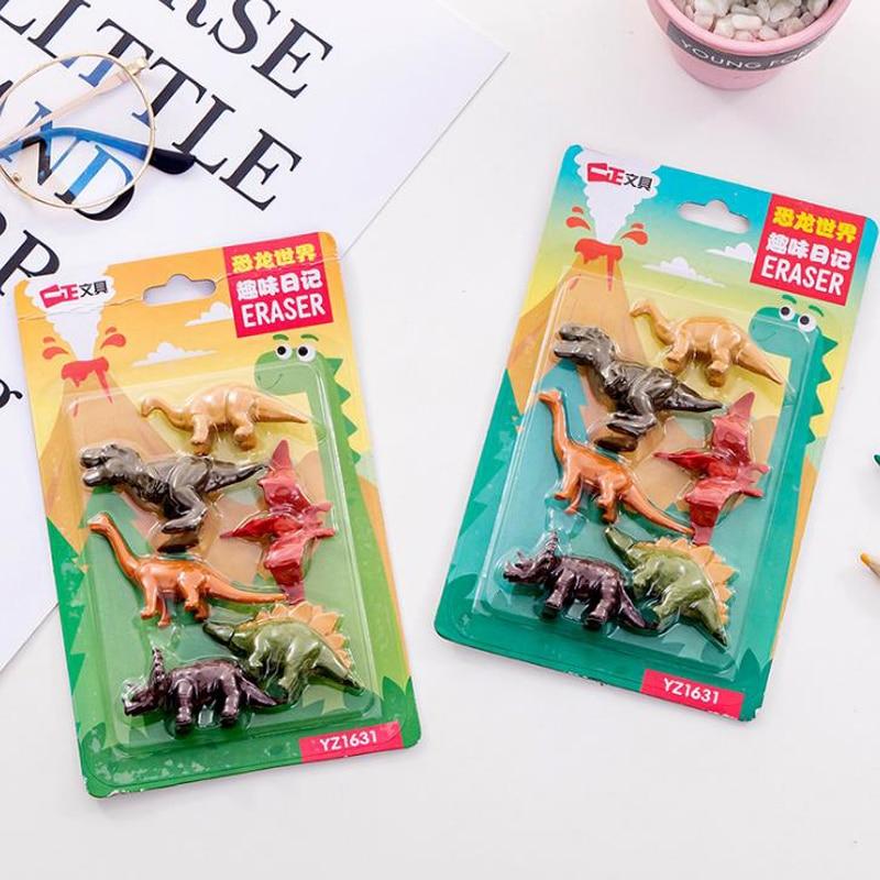 6 Pcs/pack Cartoon Mini Monster Dinosaur Modeling Rubber Pencil Erasers Animal Correcting Eraser Student Gift Korean Stationery