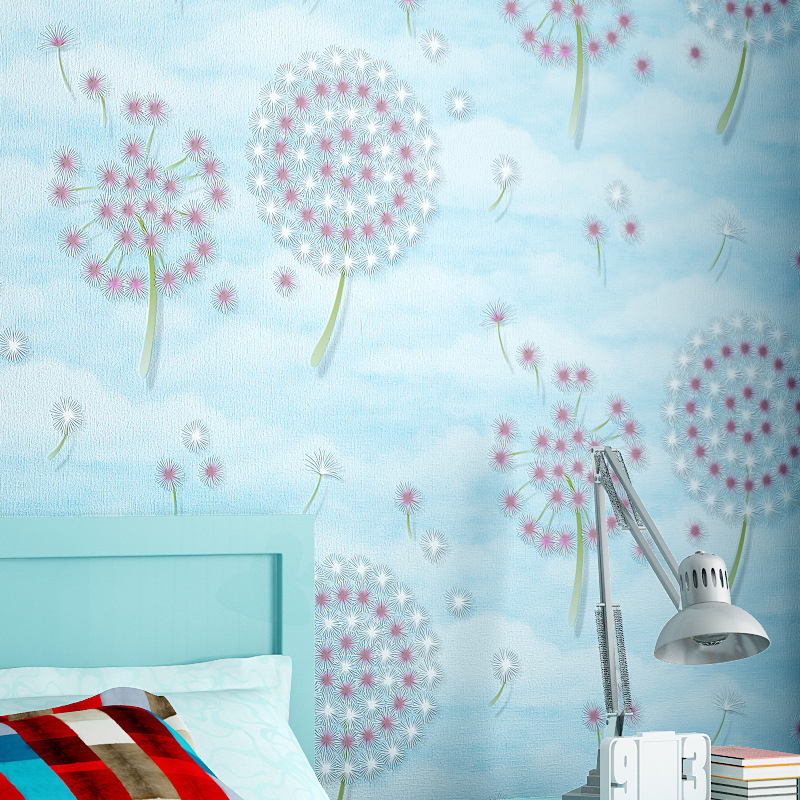 beibehang pastoral dandelion non woven Wallpaper roll Papel De Parede 3D Wall paper Decorative Living room Bedroom contact-paper beibehang 3d wallpaper modern simple wall paper roll non woven wallpaper living room purple white lattice papel de parede listra