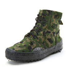 Canvas Camouflage High-top Men Hiking Shoes Anti-slip Outdoor Training Trekking Sneakers Lacing Climbing Sports Shoes