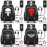 2018 Legend of zelda Skull Deadpool USB Headphone Jack Boy Girl School bag Women Bagpack Teenagers Canvas Men Backpack Packsack