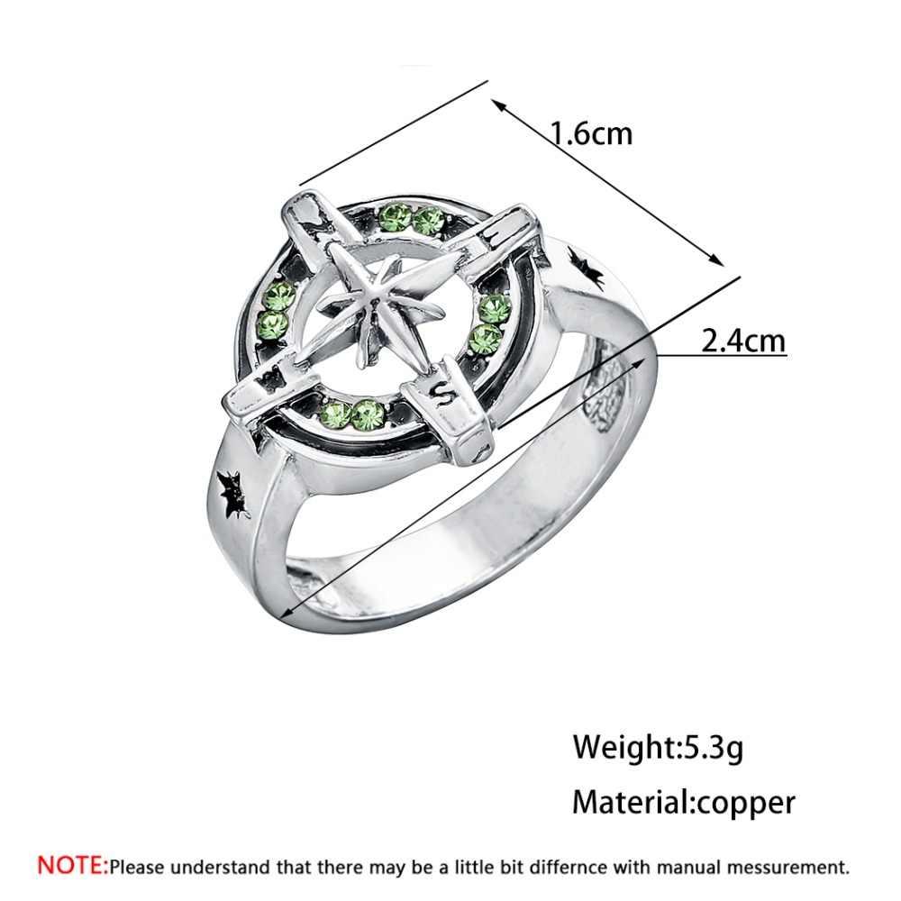 CHENGXUN ветрозащитная розовая перстень для мужчин Уникальный символ мужской компас Античный Зеленый Винтажный стиль вечерние подарок бойфренда
