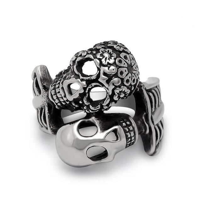 cheap selling 2016 exaggerated thick skull fashion 316l stainless steel men male rings cool finger wedding - Mens Skull Wedding Rings
