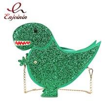 Trendy Persönlichkeit Dinosaurier Design Mode Pu Leder Crossbody Mini Umhängetasche frauen Kette Handtasche Weiblichen Umhängetasche Klappe