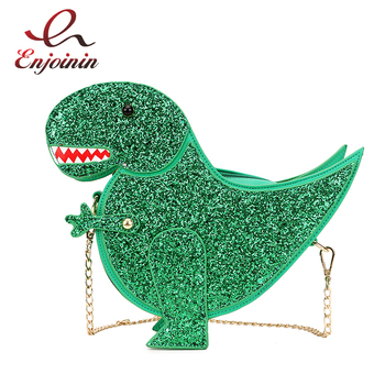 Trendy Personality Dinosaur Design Fashion Pu Leather Crossbody Mini Messenger Bag Women's Chain Purse Female Shoulder Bag Flap цена 2017