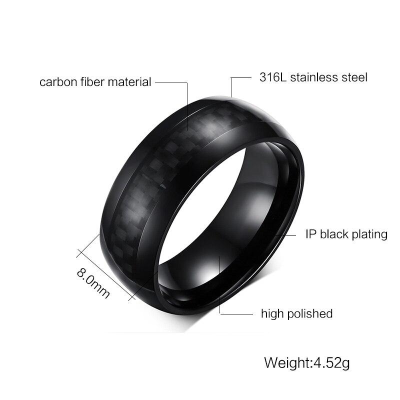 Meaeguet Cool Men Punk Rings Jewelry Carbon Fiber Elements 8mm Wide ...