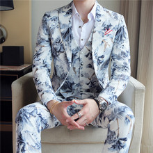 Wedding Prom Floral Suits Men Fashion Mens