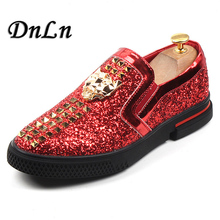 Luxury Designers Men Glitter Casual Slip On Studded Rivet Spike Loafers Shoes Male Party Weeding Dress Shoes 29D50