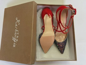 Image 3 - Женские свадебные туфли Keshangjia, классические туфли на высоком каблуке, тканевые туфли лодочки с блестками и ремешком на щиколотке, женские привлекательные Туфли на каблуке