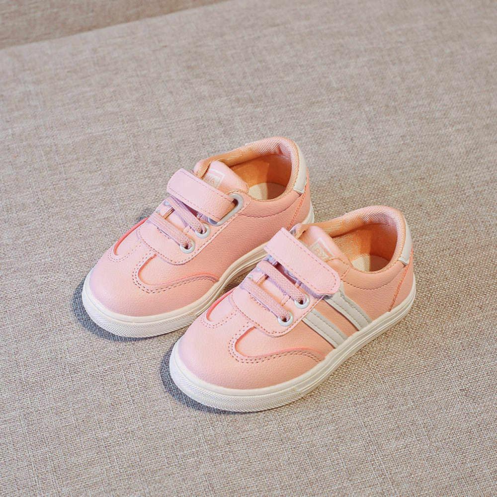 חדש מותג חמוד לנשימה ילדי נעלי תינוק ילדים אופנה Sneaker ילדי בני בנות מקרית עור ריצה ספורט נעלי #3