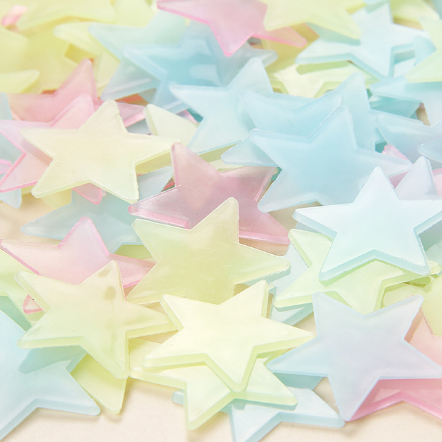 100pcs Luminous Wall Stickers Glow In The Dark Stars Sticker Decals for Kids Baby rooms Colorful Fluorescent Stickers Home decor 3