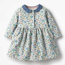 Little maven kids girls fashion brand autumn baby girls clothes draped dress Cotton flower print toddler girl dresses S0522
