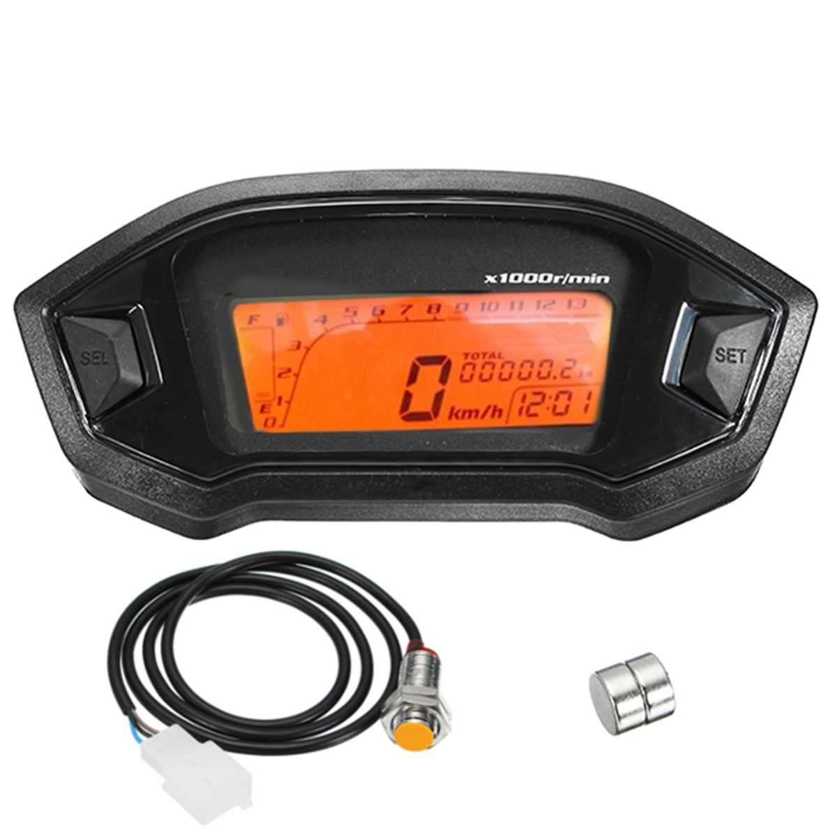 Universal ATV Motorcycle LCD Digital Sdometer For 2-4 Cylinders Odometer on