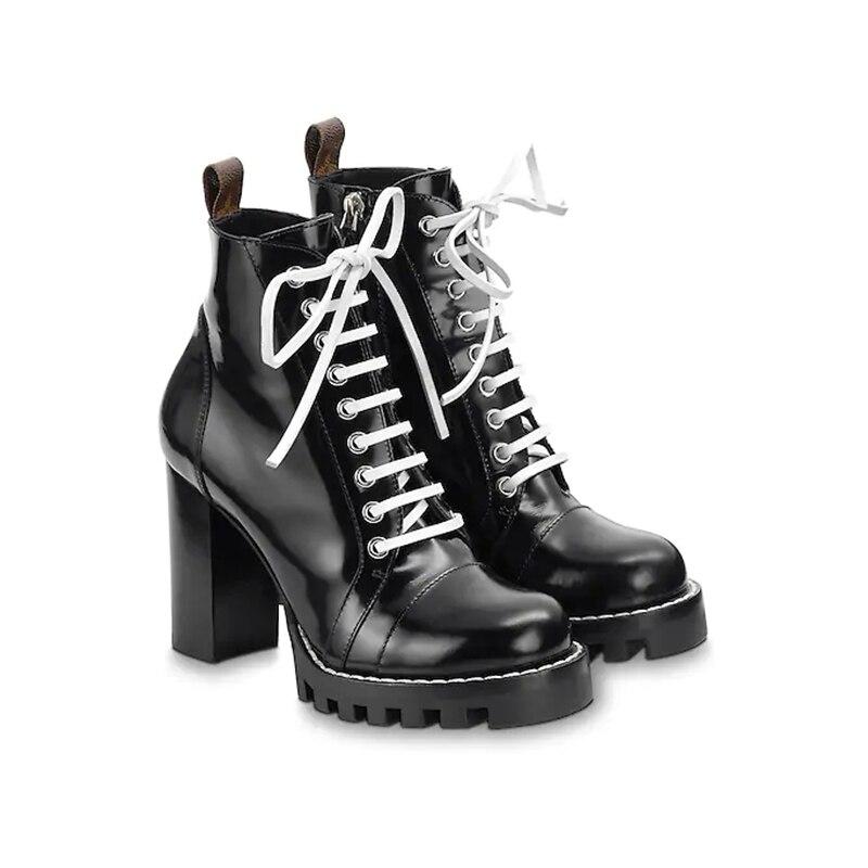 Femmes Square Talon Étoiles Bottines Taille Boot Mode 35 New Zapatos En Cuir Ue Véritable Chaussures De 41 Piste ordeCxBW