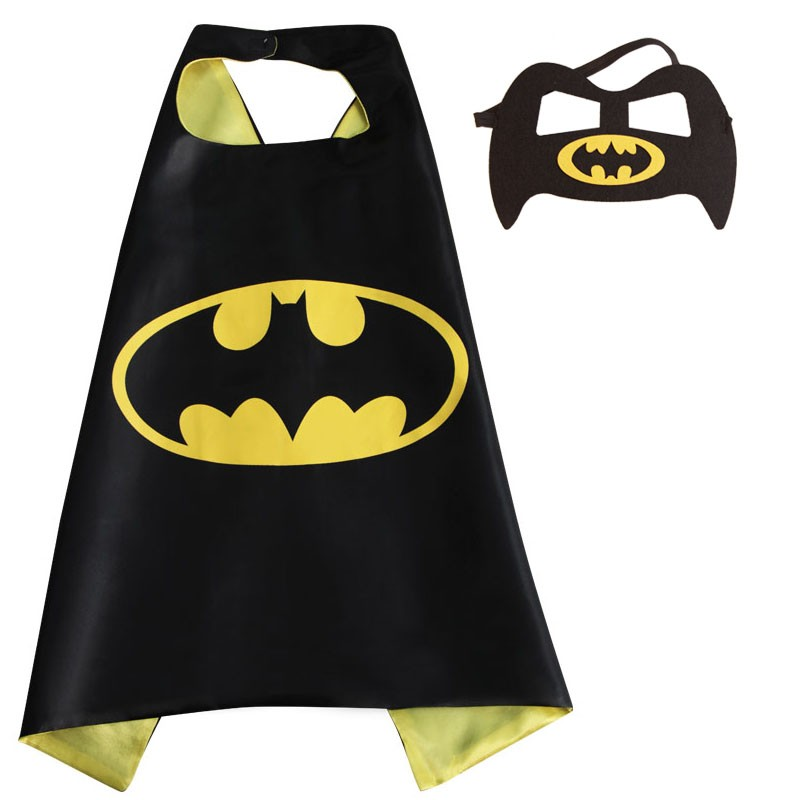 1 piece Kids Superhero capes and masks- batman 70*70cm Satin Fabric  for kids Children's birthday party Halloween cosplay
