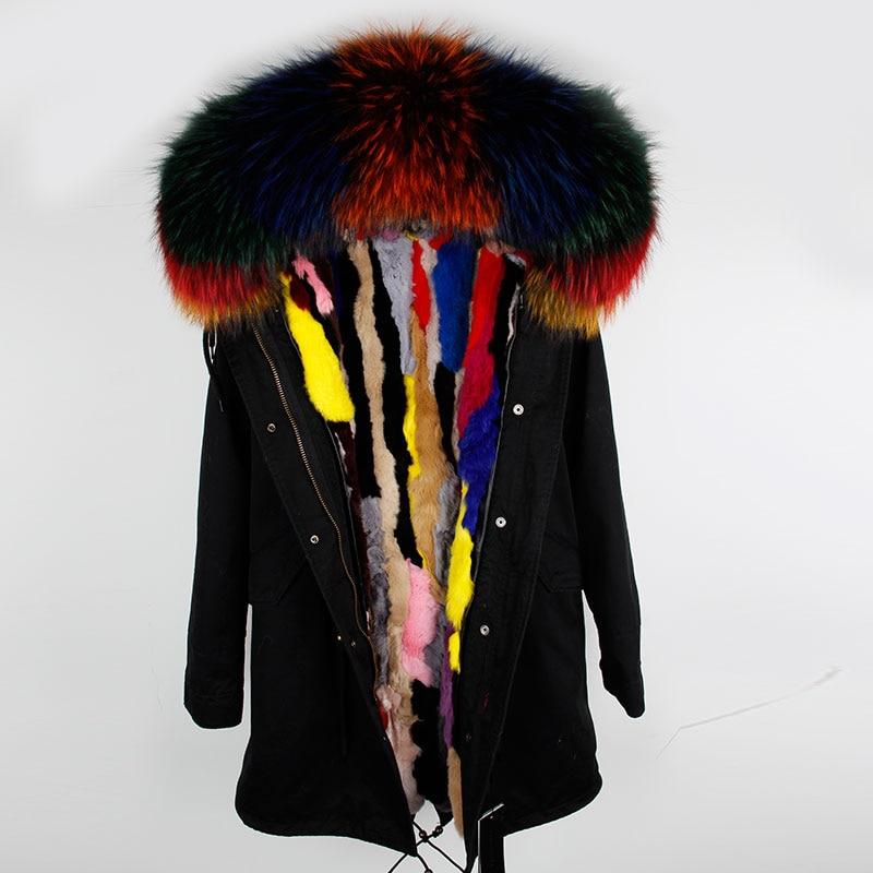 2018 New Fashion Winter women Coat Jacket Warm High Quality Woman Park Jacket Coat Hood Real Raccoon Fur Real Rabbit fur liner