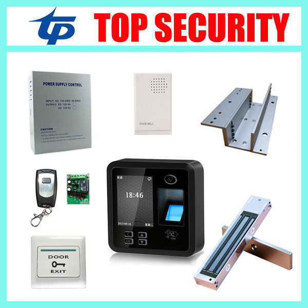 Cheap biometric fingerprint door access control system with 280KG EM lock, power supply and exit button RFID card door lock fingerprint access control and time attendance 13 56mhz ic card reader iclock700 power supply electric lock exit button bracket