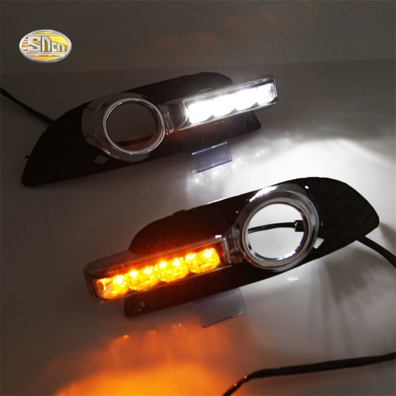 SNCN LED Daytime Running Lights for Mitsubishi Lancer EX 2009-2014 DRL Led with fog lamp hole Yellow turning signal lamp sncn led daytime running lights for volkswagen vw passat cc 2010 2011 2012 2013 drl fog lamp with yellow turning signal lights
