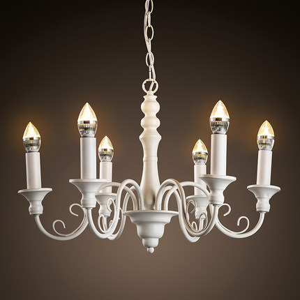 Amercian Style Candle LED Chandelier Light Fixtures Indoor Lighting For  Living Dining Room Iron Hanging Lamp