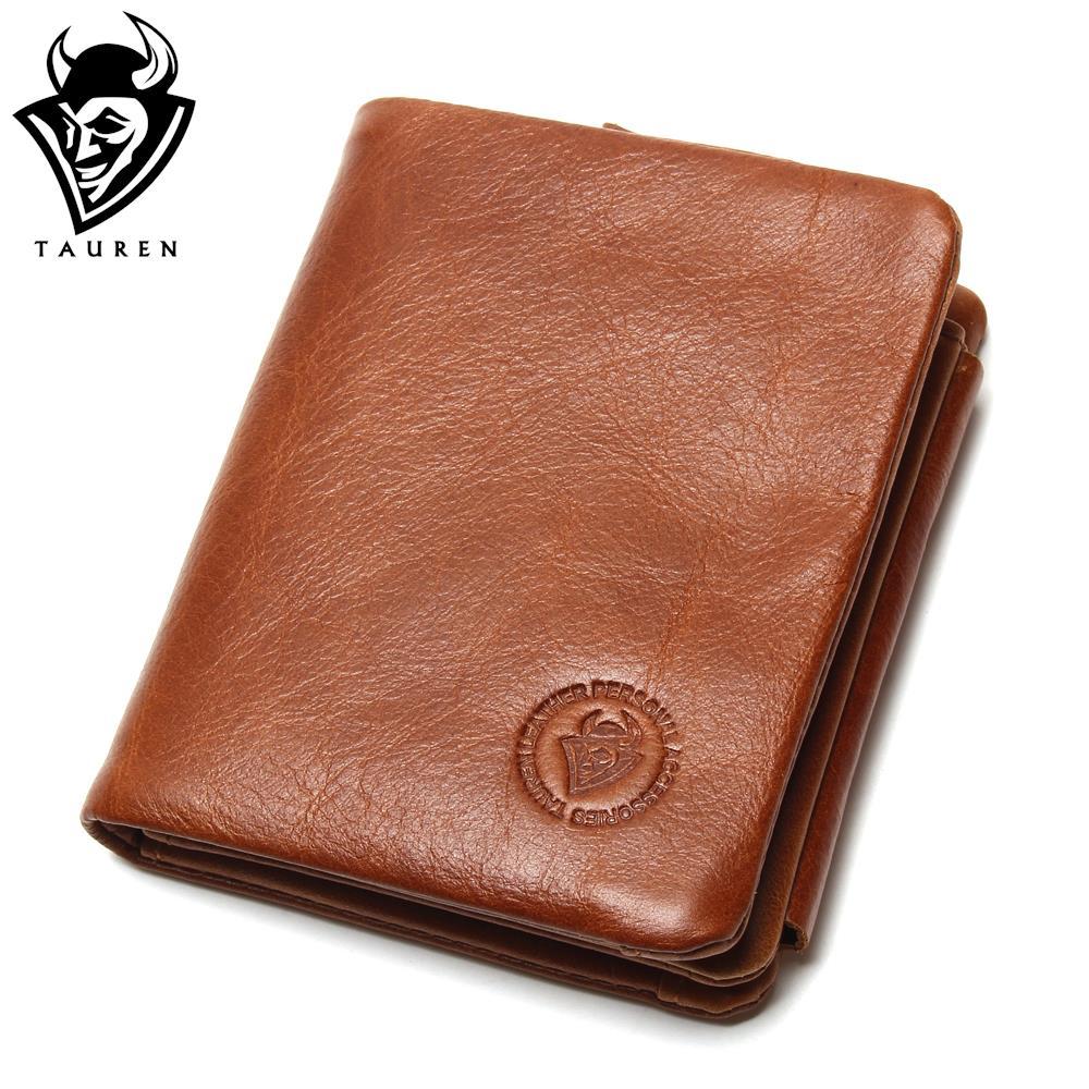 TAUREN 100% Genuine Leather Men Wallets OIL LEATHER Vintage Trifold Wallet Zip Coin Pocket Purse Cowhide Leather Wallet For Mens tauren 100