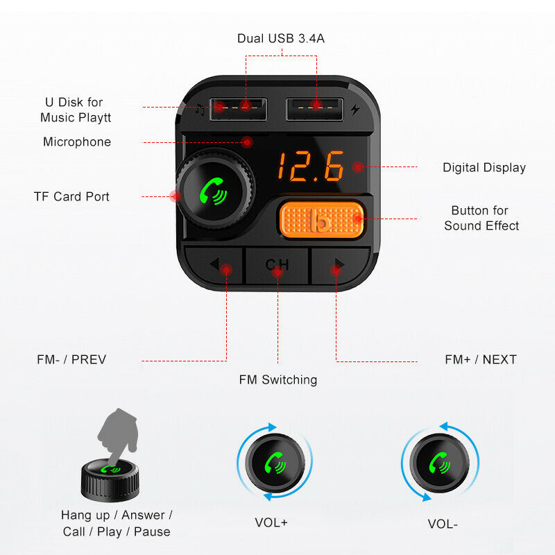 5.0 Car Charger For Mobilie Cell Phone MP3 Player FM Transmitter Radio Adapter USB Charger Kit For Smart Phone Car Charging
