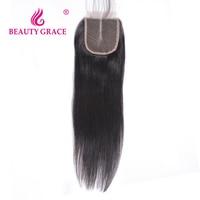 Beauty Grace Brazilian Straight Lace Closure 4x4 Non Remy 100 Human Hair Closure Piece Middle Part