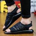 2016 nueva moda Casual la PU Sandalias de gladiador Roma zapatos del cordón ligero Mans diapositivas calzado deslizadores Sandalias de Hombre