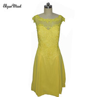 Real Photos Elegant Yellow A Line Scoop Lace Yellow Mini Length Cocktail Dress 2018 Graduation Prom Gowns