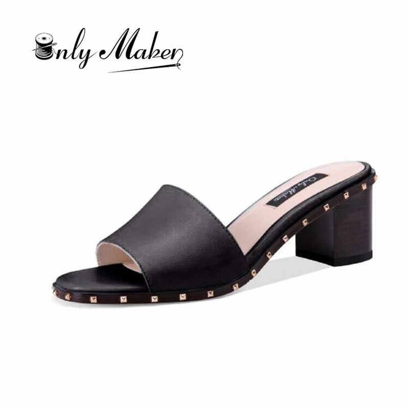 8a2b274073965 onlymaker Women s Open Toe Chunky Block Heel Slippers Slide Sandals Rivets  Mules Shoes Casual Heeled for
