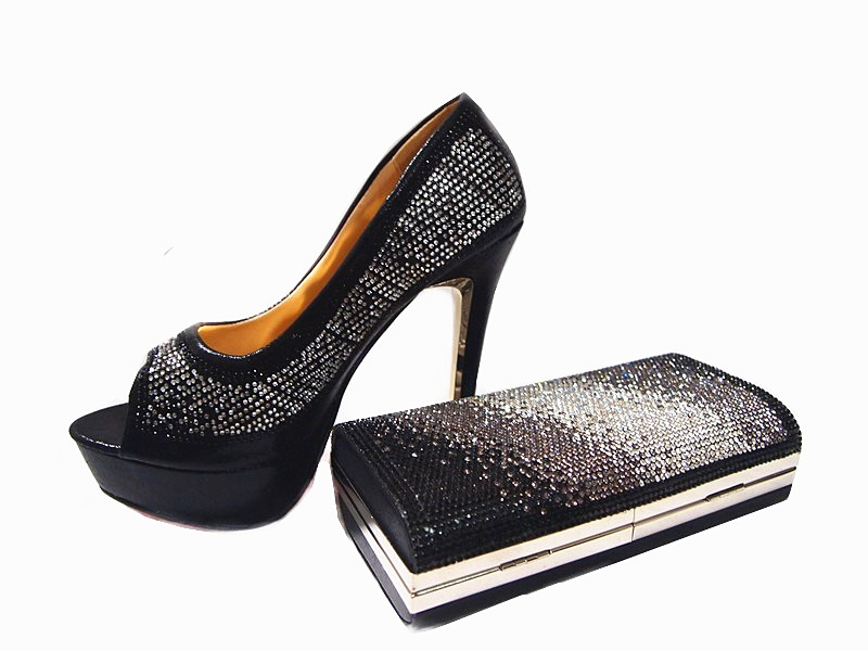 ФОТО New Fashion Elegant Rhinestone Shoes And Evening  Bag Set For Party Summer Style Pumps Shoes And Bag Set  Free Shipping JA112