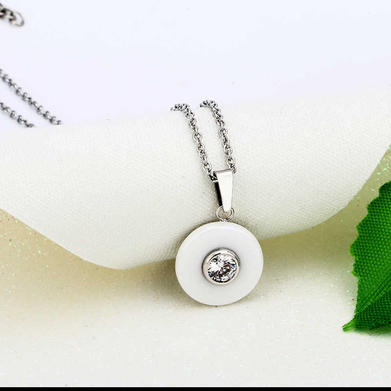 Real Ceramic Cubic Zirconia Chain Necklaces & Pendants White Color Fashion Crystal Ceramic Necklace Wedding Jewelry For Women