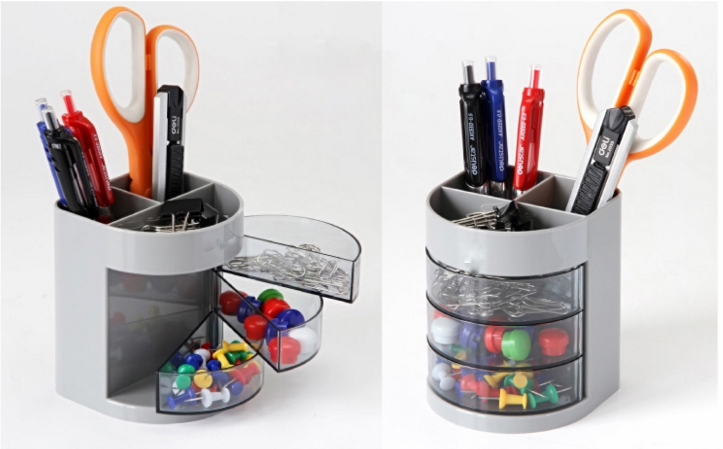Buy desk storage box plastic three layers Diy pencil holder for desk