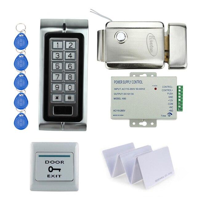 Conjunto completo kit de control de acceso de metal de plata K2 digital lock control + fuente de alimentación + cerradura eléctrica + exit botón + 10 unids ID cards clave