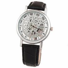 2016 Fashion Quartz Skeleton Watch Men Style Brand transparent Hollow Business Dress Wristwatch Leather Watch Mechanical clock