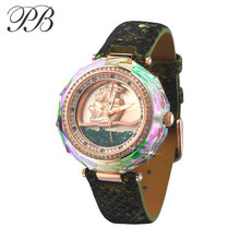 PB butterfly princess fashion table trend fashion style watch flow sand crystal table with diamond trim table