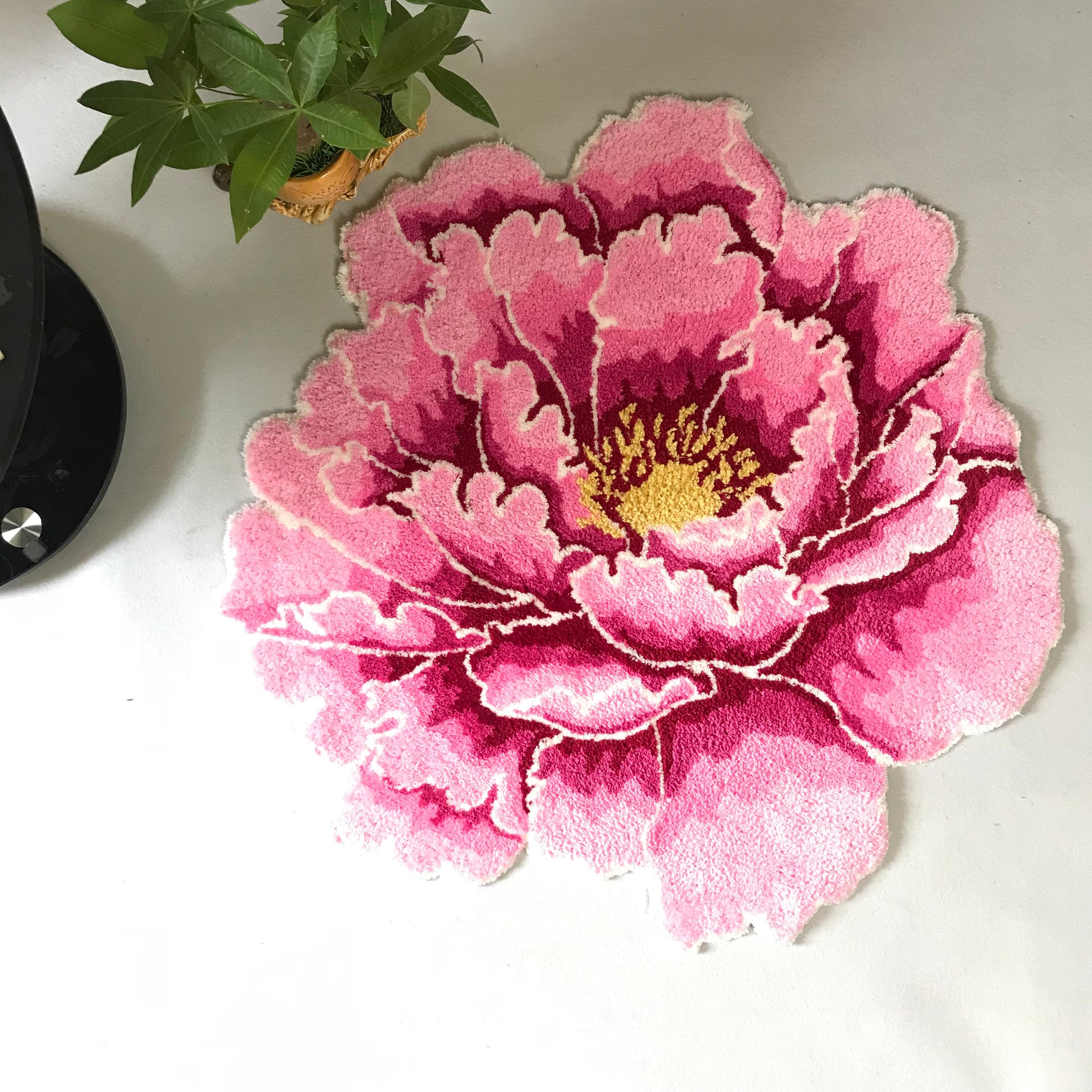 3D пион толстый цветочный ковер для спальни гостинной круглый ковер для кровати мягкий ковер для кабинета розовый ковер Противоскользящий с...