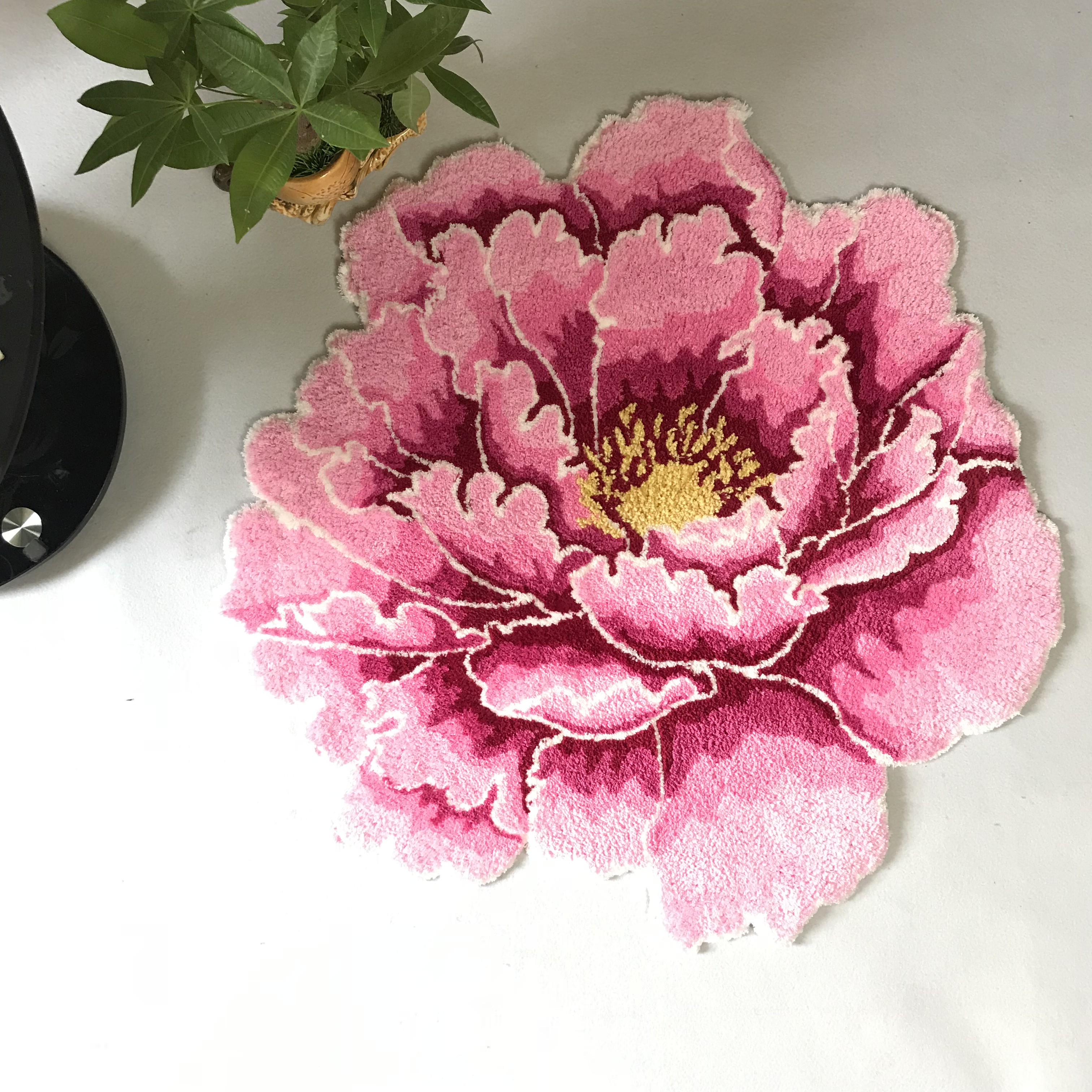 3D Peony Thick Flower Carpet Bedroom Livingroom Round Rug Bed Soft Parlor Pink Rug Anti-slip Hallway Chair Kids Door Mat
