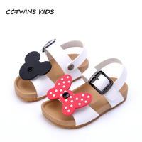 CCTWINS KIDS 2018 Summer Toddler Pu Leather Flat Children Fashion Bowtie Black Sandals Baby Girl Brand