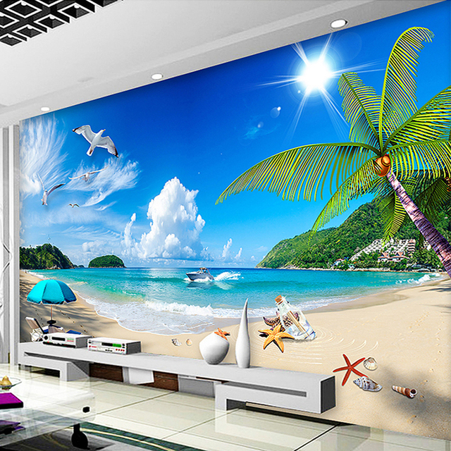 benutzerdefinierte 3d fototapete sommer seaview sonnenschein strand fotografie hintergrund decor. Black Bedroom Furniture Sets. Home Design Ideas