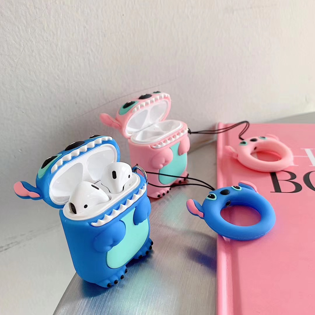 For AirPods Apple Case 3D Cartoon Stitch Headphone Cases For Airpods 2 Silicon Case Funny Accessories Protector Covers Keychain