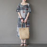 Women Dress 2017 Summer Dresses Vintage Patchwork Personality Print Linen Robe Plus Size Loose Long Casual