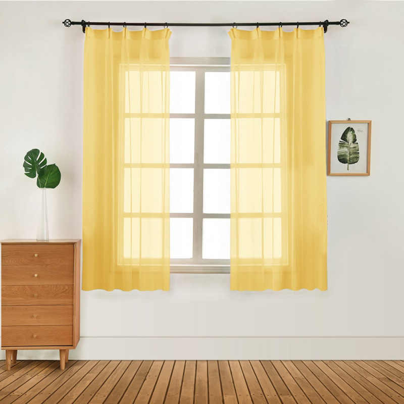 100x130cm Door Window Drape Panel Sheer Scarf Valances Modern Curtain Pure Color Tulle Curtain Bedroom Living Room Curtains