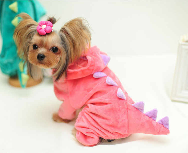 DELEY Pet Dog Fleece Cartoon Dinosaur Cosplay Costume Puppy Cat Jumpsuit Coat Apparel Clothes Red M